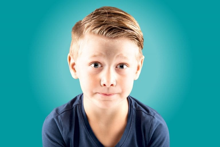 Kinderfotografie portret blauw